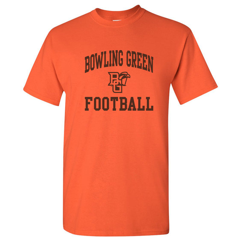 Bowling Green State University Falcons Arch Logo Football Basic Cotton Short Sleeve T Shirt - Orange