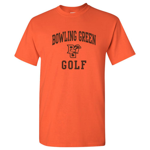 Bowling Green State University Falcons Arch Logo Golf Basic Cotton Short Sleeve T Shirt - Orange