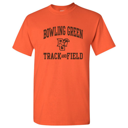 Bowling Green State University Falcons Arch Logo Track & Field Basic Cotton Short Sleeve T Shirt - Orange
