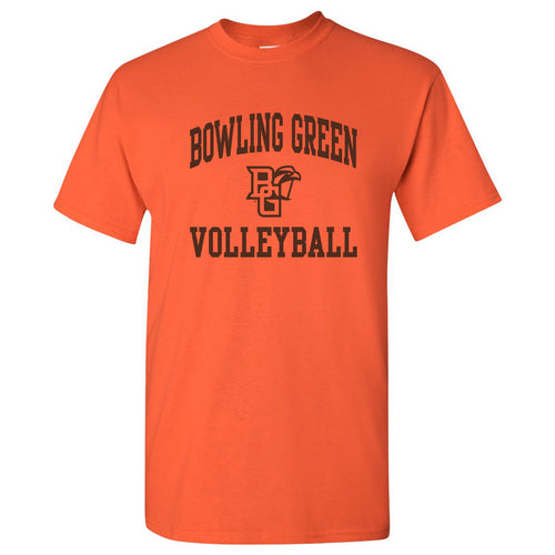 Bowling Green State University Falcons Arch Logo Volleyball Basic Cotton Short Sleeve T Shirt - Orange