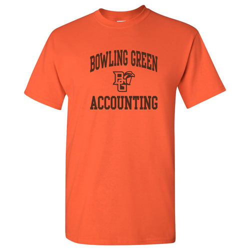 Bowling Green State University Falcons Arch Logo Accounting Basic Cotton Short Sleeve T Shirt - Orange