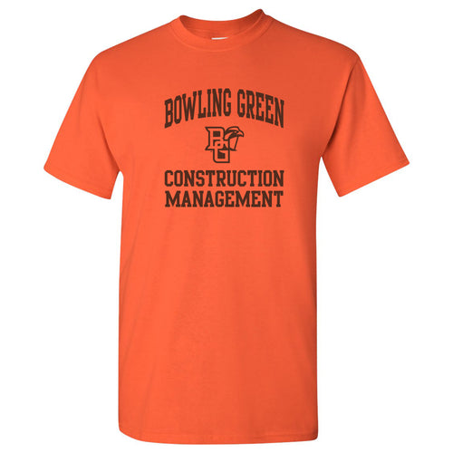 Bowling Green State University Falcons Arch Logo Construction Management Basic Cotton Short Sleeve T Shirt - Orange