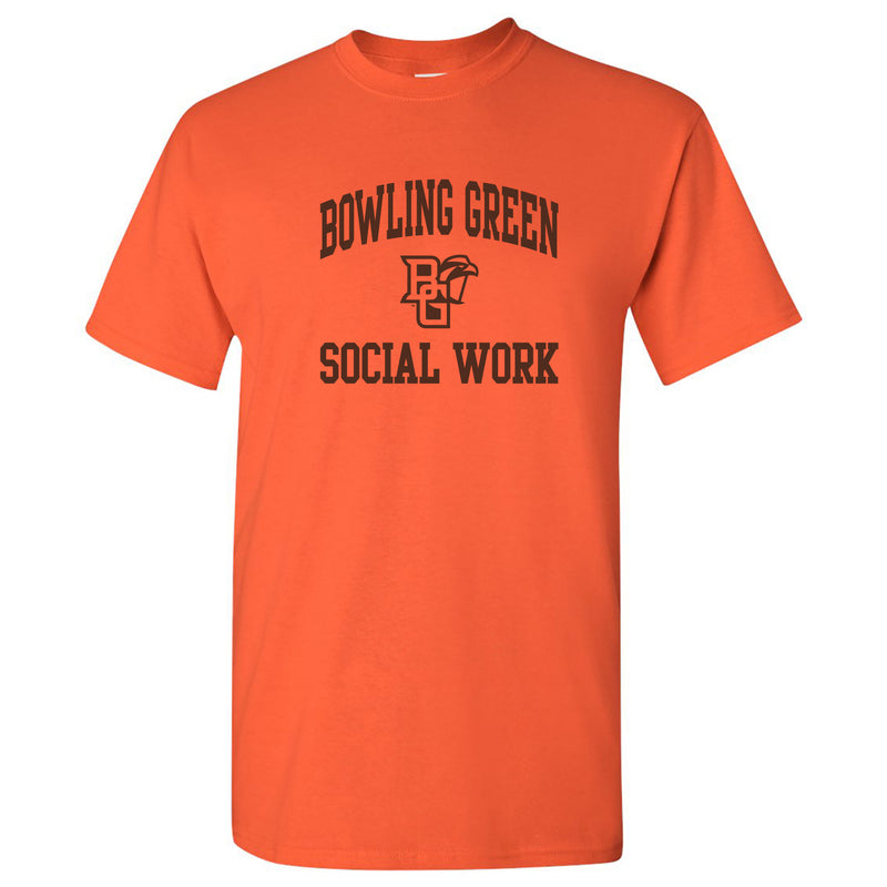Bowling Green State University Falcons Arch Logo Social Work Basic Cotton Short Sleeve T Shirt - Orange