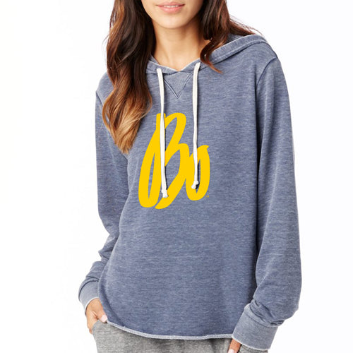Bo Sig Womens Burnout Hoodie - Dark Navy