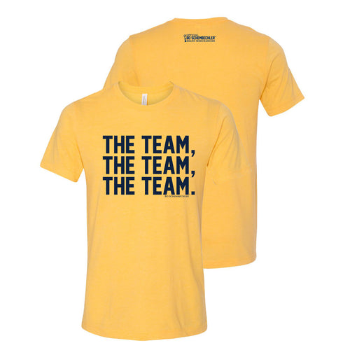 Bo Schembecher The Team The Team The Team Canvas T-Shirt - Heather Yellow Gold