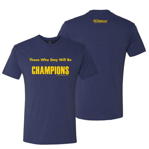 Bo Schembechler Those Who Stay Next Level T-Shirt - Vintage Navy