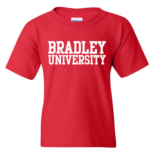 Bradley University Braves Basic Block Cotton Short Sleeve Youth T Shirt - Red