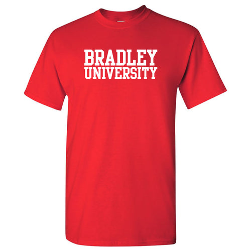 Bradley University Braves Basic Block Cotton Short Sleeve T Shirt - Red