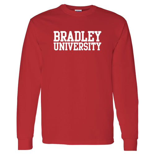 Bradley University Braves Basic Block Heavy Cotton Long Sleeve T Shirt - Red