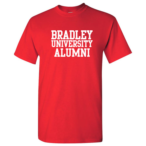 Bradley University Braves Basic Block Alumni Cotton Short Sleeve T Shirt - Red