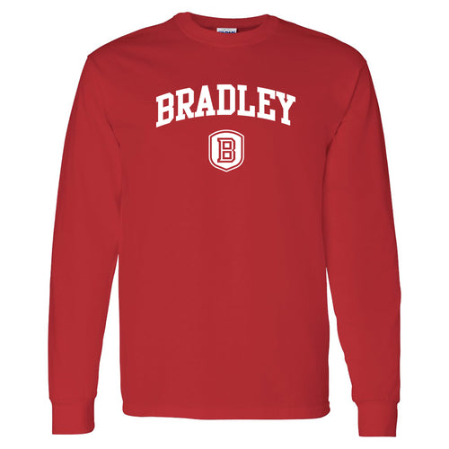 Bradley University Braves Arch Logo Basic Cotton Long Sleeve T Shirt - Red
