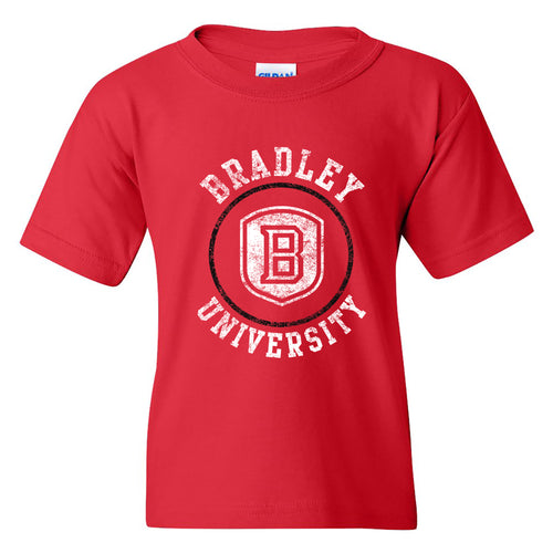 Bradley University Braves Distressed Circle Logo Basic Cotton Short Sleeve Youth T Shirt - Red