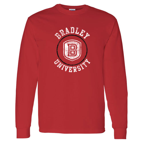 Bradley University Braves Distressed Circle Logo Basic Cotton Long Sleeve T Shirt - Red
