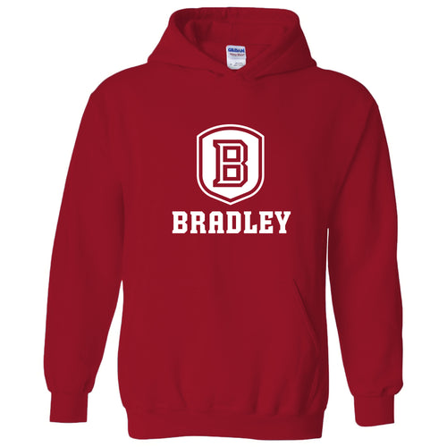 Bradley University Braves Primary Logo Heavy Blend Hoodie - Red