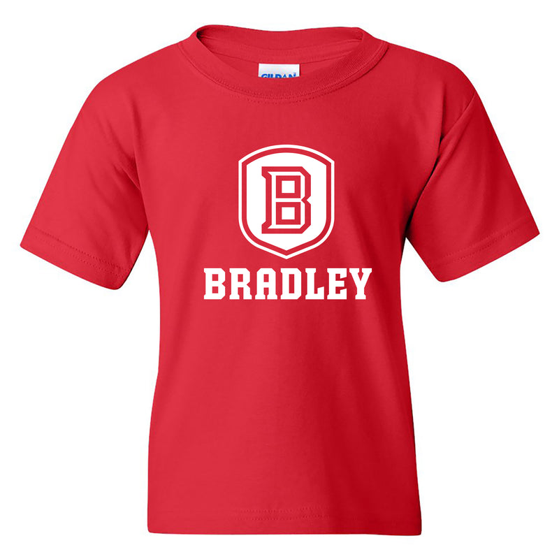 Bradley University Braves Primary Logo Basic Cotton Short Sleeve Youth T Shirt - Red