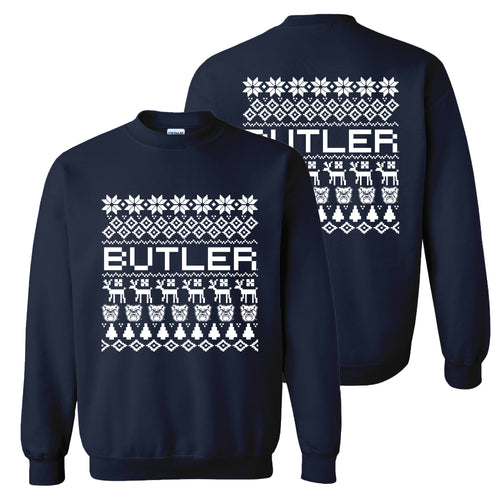 Butler University Bulldogs Ugly Holiday Sweater Crewneck - Navy
