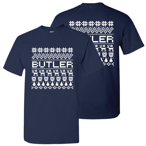 Butler Ugly Holiday Sweater T Shirt - Navy