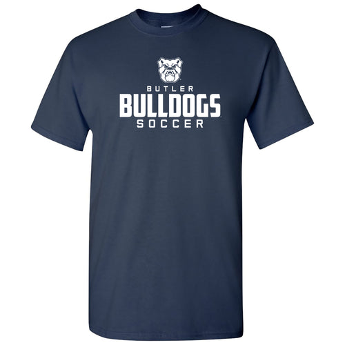 Butler University Bulldogs Mascot Wordmark Soccer Short Sleeve T Shirt - Navy