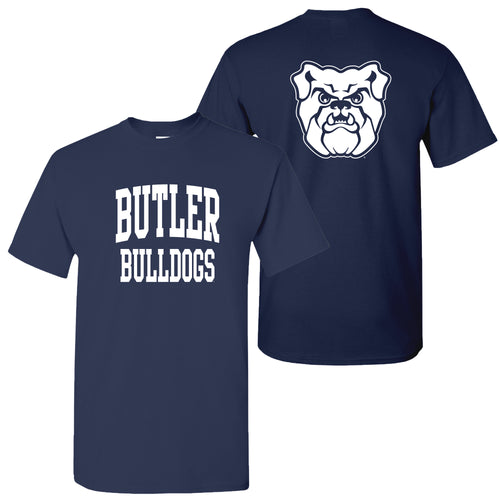 Butler University Bulldogs Front Back Print Short Sleeve T Shirt - Navy