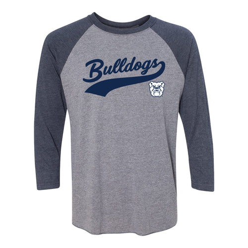 Butler University Bulldogs Baseball Jersey Script Raglan - Premium Heather/Vintage Navy