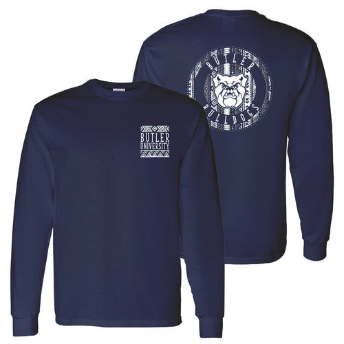Butler University Bulldogs Aztec Pattern Emblem Long Sleeve T Shirt - Navy