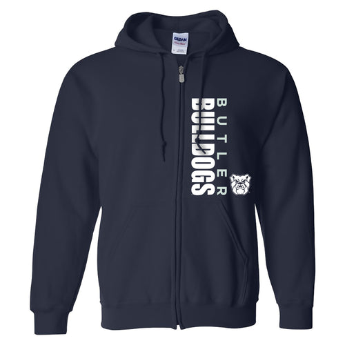 Butler University Bulldogs Vertical Block Left Chest Zip Hoodie - Navy