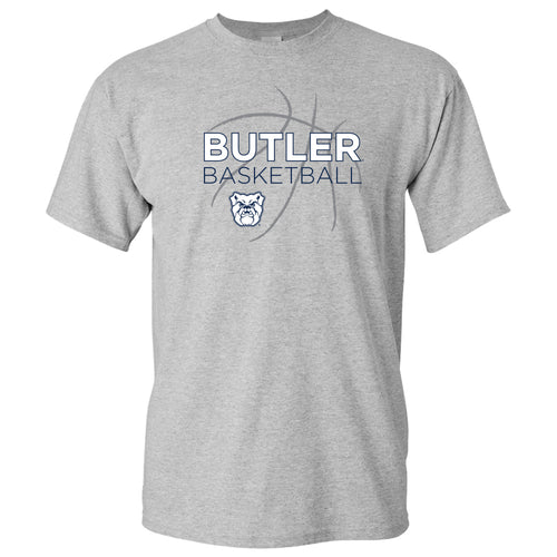 Butler University Bulldogs Basketball Sketch Basic Cotton Short Sleeve T Shirt - Sport Grey