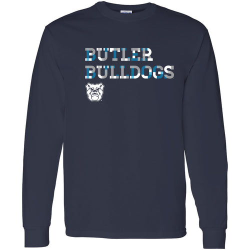 Butler University Bulldogs Patchwork Cotton Long Sleeve T Shirt - Navy