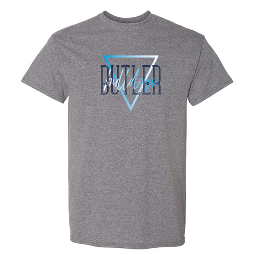 Butler University Bulldogs Gradient Triangle Basic Cotton Short Sleeve T Shirt - Graphite Heather