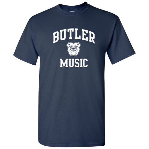 Butler University Bulldogs Arch Logo Music Short Sleeve T Shirt - Navy