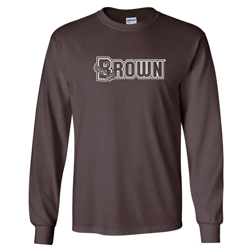 Brown University Bears Basic Block Long Sleeve T Shirt - Dark Chocolate
