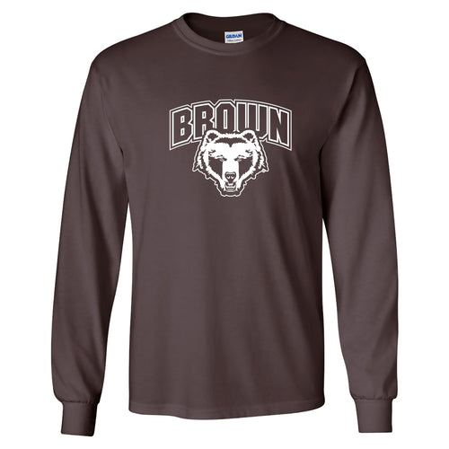 Brown University Bears Arch Logo Long Sleeve T Shirt - Dark Chocolate