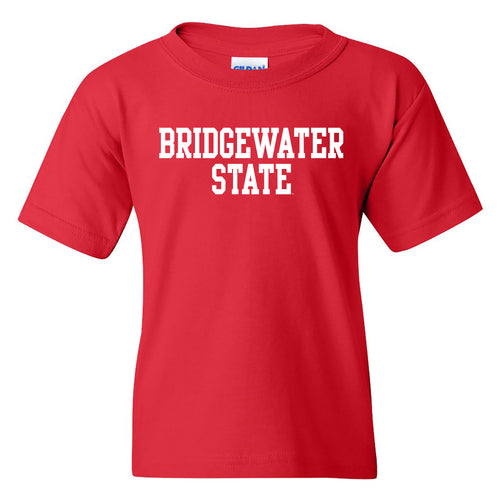 Bridgewater State University Bears Basic Block Youth Short Sleeve T Shirt - Red