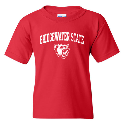 Bridgewater State University Bears Arch Logo Youth Short Sleeve T Shirt - Red