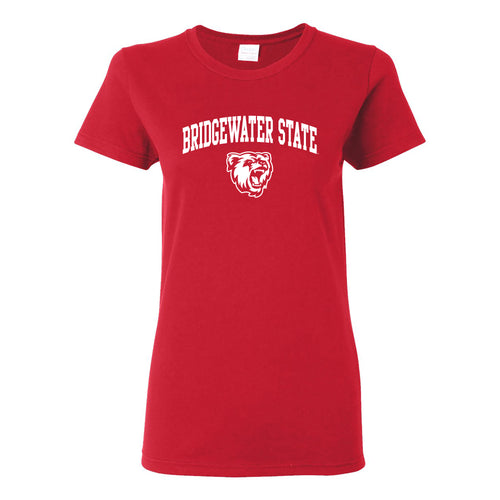 Bridgewater State University Bears Arch Logo Womens Short Sleeve T Shirt - Red