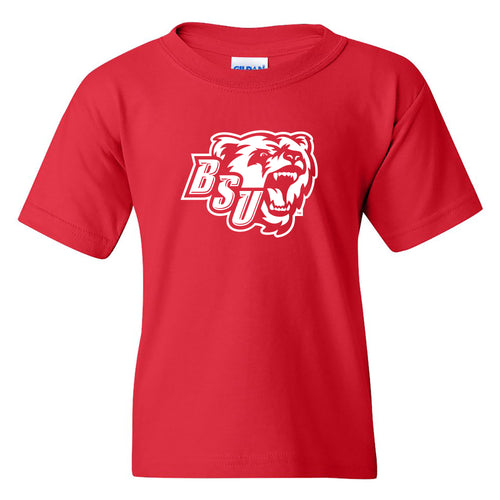 Bridgewater State University Bears Primary Logo Youth Short Sleeve T Shirt - Red