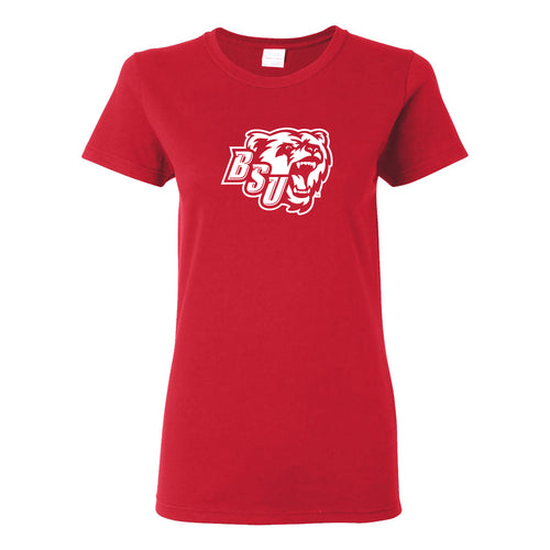 Bridgewater State University Bears Primary Logo Womens Short Sleeve T Shirt - Red
