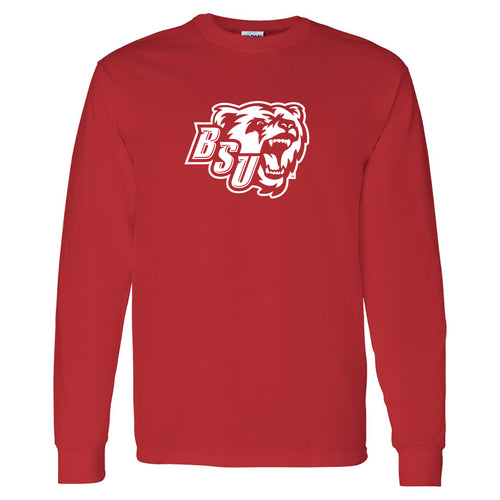 Bridgewater State University Beats Primary Logo Long Sleeve T-Shirt - Red