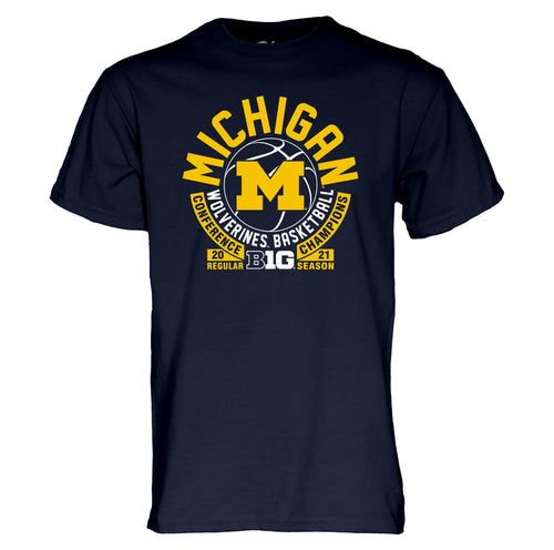 Michigan Basketball B1G Basketball 2021 Regular Season Champs T-Shirt  - Navy