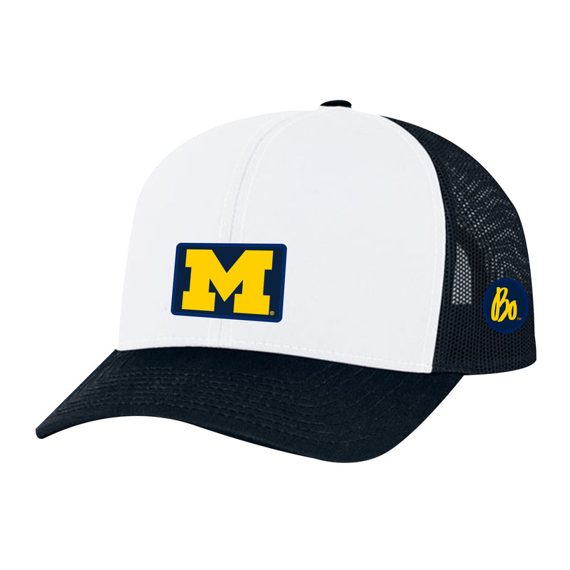 Block M Bo Sig Patch University of Michigan Pacific Headwear Trucker Snapback - White/Navy