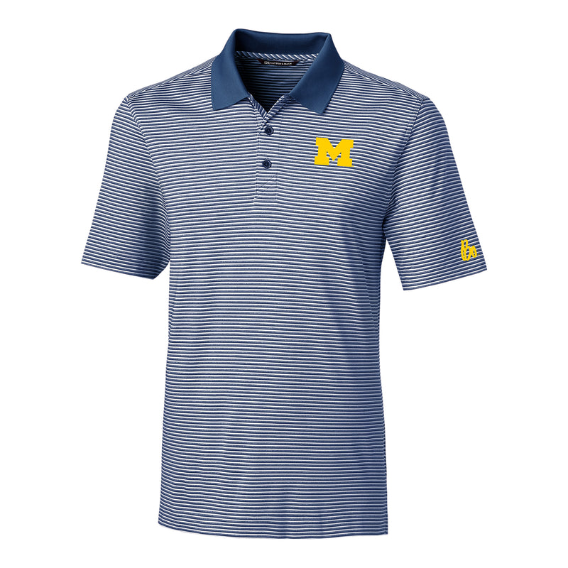 Block M Bo Sig University of Michigan Cutter and Buck Forge Stripe Polo - Indigo