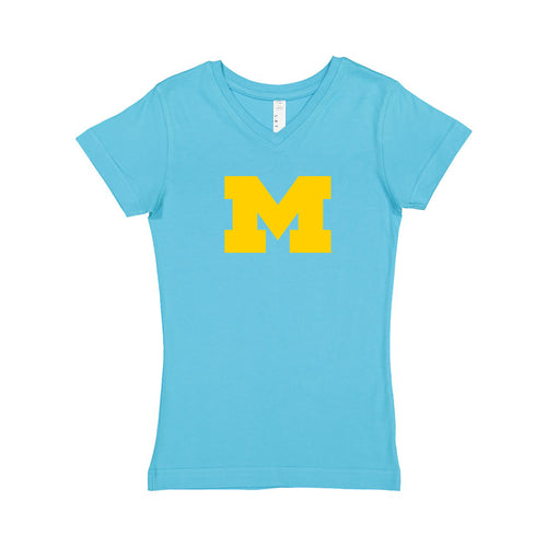 Primary Logo University of Michigan LAT Girls V-Neck T Shirt - Aqua
