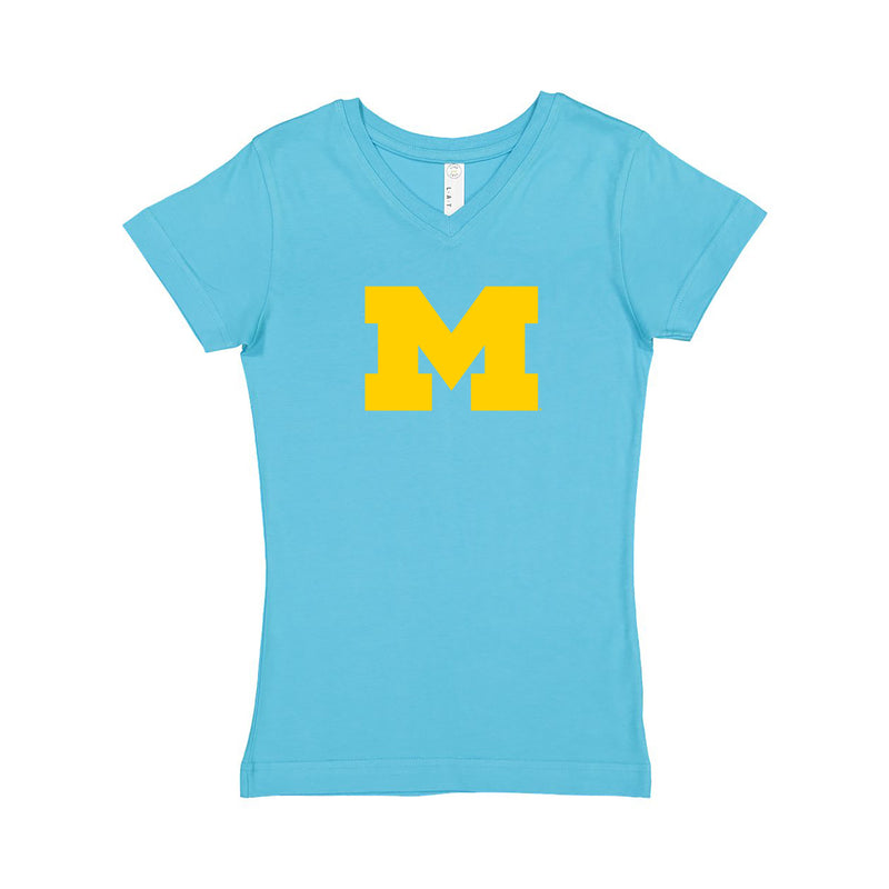 Block M Girls Vneck Tee - Aqua
