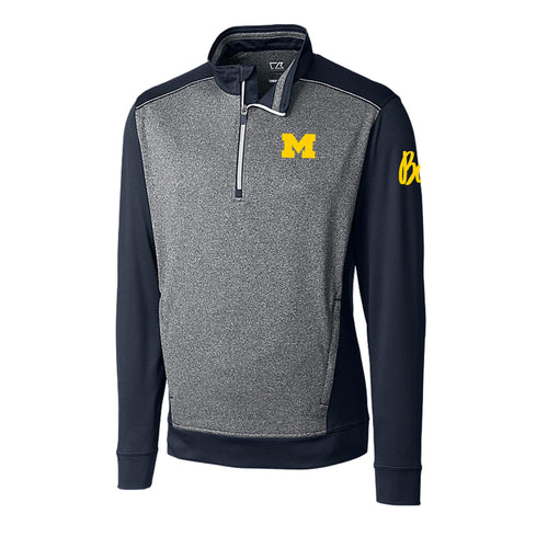 Block M Bo Sig University of Michigan Cutter & Buck Replay Half Zip - Liberty Navy