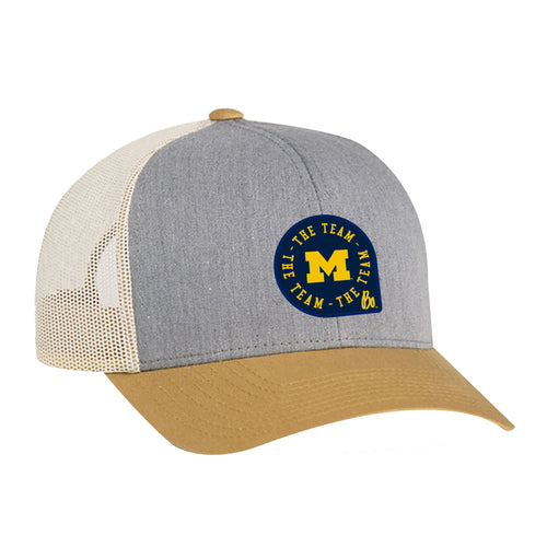 Block M TTT Circle Patch University of Michigan Pacific Headwear Trucker Snapback - Grey/Amber/Beige