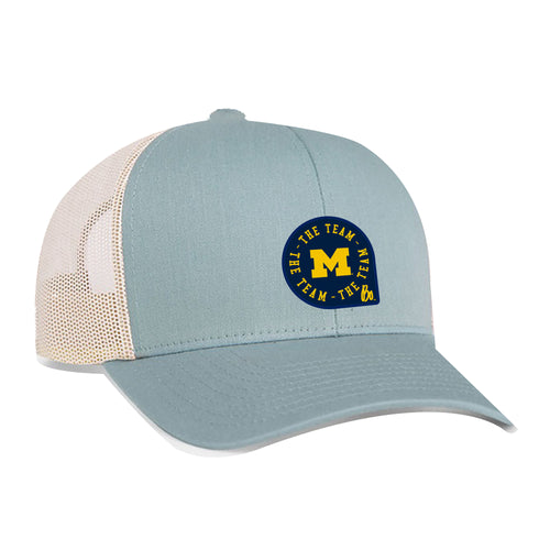 Block M TTT Circle Patch University of Michigan Pacific Headwear Trucker Snapback - Smoke Blue/Beige