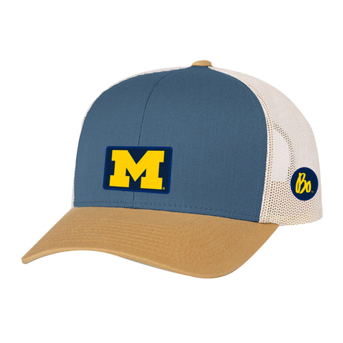 Block M Bo Sig Patch University of Michigan Pacific Headwear Trucker Snapback - Ocean/Amber/Beige