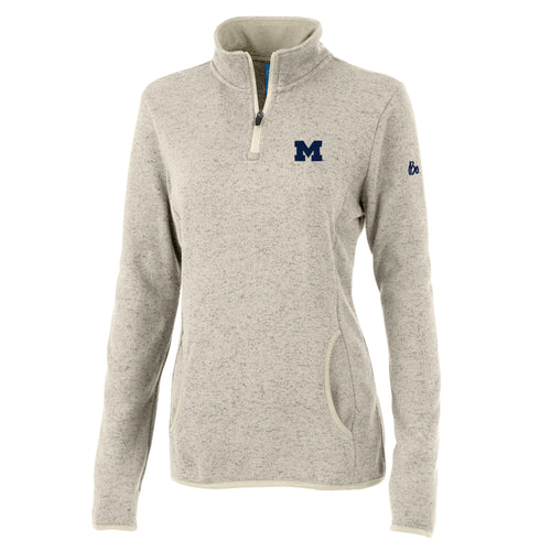 Bo Schembechler Signature University of Michigan Block M Women's Heathered Fleece Quarter Zip - Oatmeal Heather