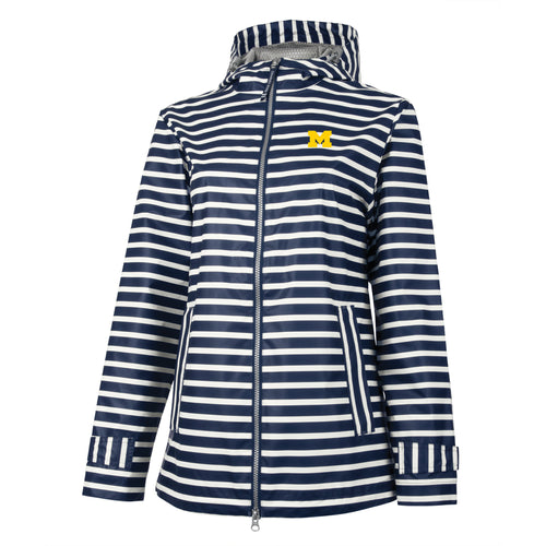 Bo Schembechler Signature University of Michigan Block M Womens Printed Rain Jacket - Navy/White Stripe