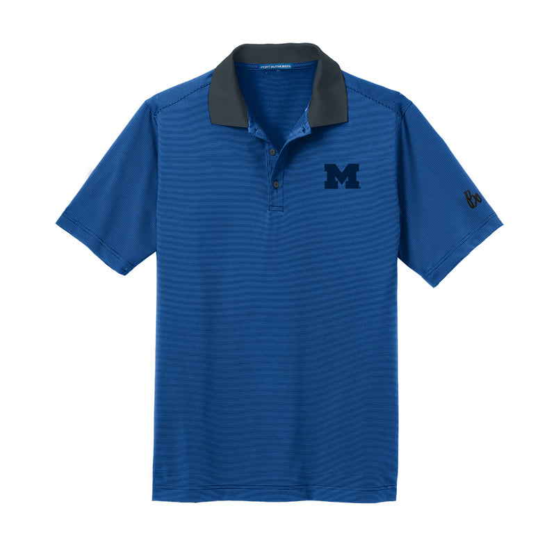 Block M Bo Sig Fine Stripe Polo - Seaport Blue